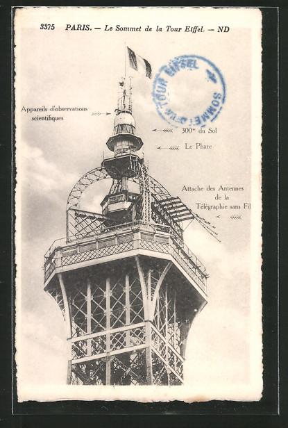 AK Paris, Le sommet de la Tour Eiffel, attache des antennes de la télégraphie sans fil, Eiffelturm