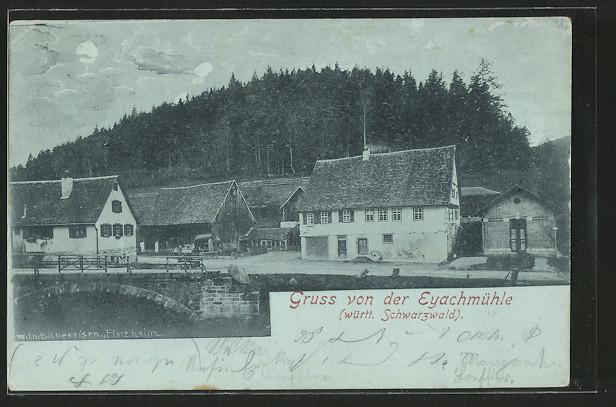 Mondschein-AK Dobel, Teilansicht mit Gasthaus Eyachmühle