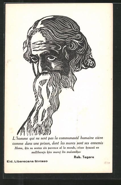 Künstler-AK Portrait und Zitat des Schriftstellers Rabin Tagore