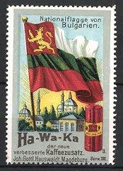 Reklamemarke Magdeburg, Ha-Wa-Ka Kaffeezusatz, J.G. Hauswaldt, Bulgarien - Nationalflagge