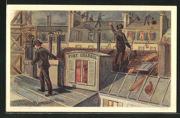 AK Paris, Fort Chaberol, Verfolgung auf Hausdach, Belagerung von Fort Chabrol 1899, Antisemit Jules Guerin