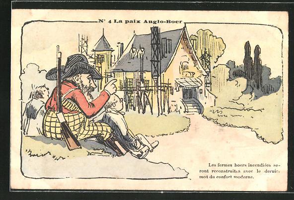 Lithographie La paix Anglo-Boer, Les fermes noers incendiés..., Karikatur, Burenkrieg