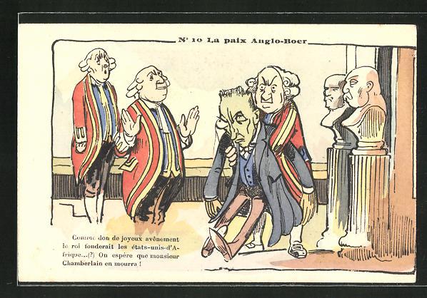Lithographie La paix Anglo-Boer, Comme don de joyeux avênement..., Karikatur, Burenkrieg