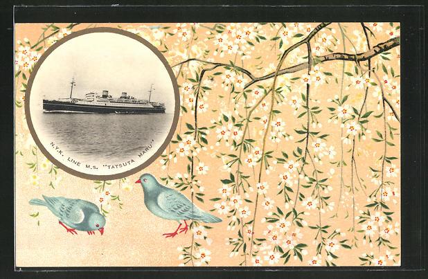 Künstler-AK NYK-Line Passagierschiff Tatsuta Maru