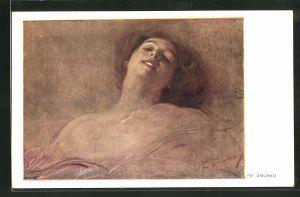 Künstler-AK Franciszek Zmurko: junge Frau mit nackten Schultern