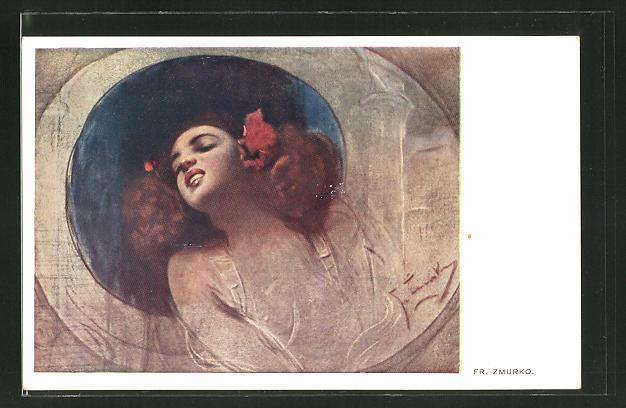 Künstler-AK Franciszek Zmurko: Mädchen mit roten Lippen