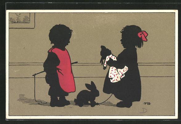 Künstler-AK Fritz Baumgarten: Kinder mit Puppe und Spielzeugkaninchen