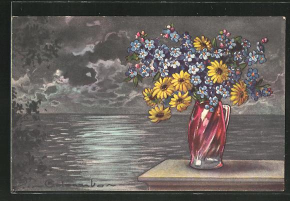 Künstler-AK E. Colombo: Stilleben mit Blumenvase