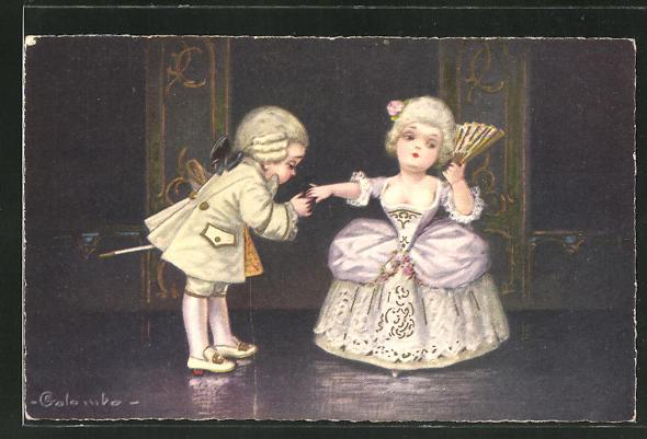 Künstler-AK E. Colombo: kleines Barockpaar