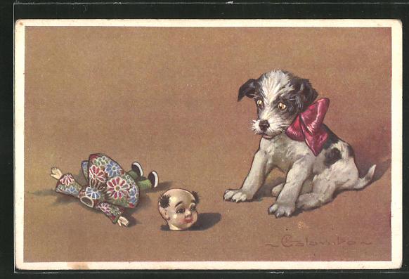 Künstler-AK E. Colombo: Hundwelpe und kopflose Puppe