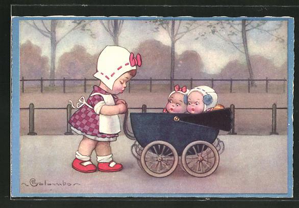 Künstler-AK E. Colombo: kleines Mädchen schiebt Kinderwagen