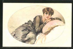 Künstler-AK Terzi: Dame auf Kissen liegend