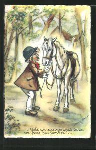 Künstler-AK sign. Bouret: Voilà un susucre..., kleine Reiterin mit Pferd