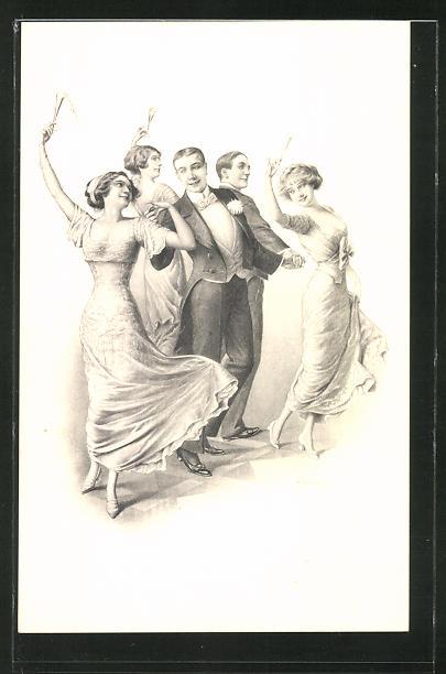 Künstler-AK Franz Kuderna: Kavaliere und junde Damen bei Ball