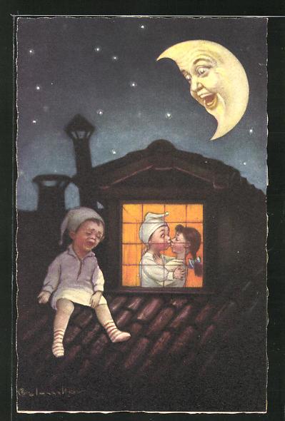 Künstler-AK E. Colombo: Mondgesicht, trauriger Bub und Liebespaar
