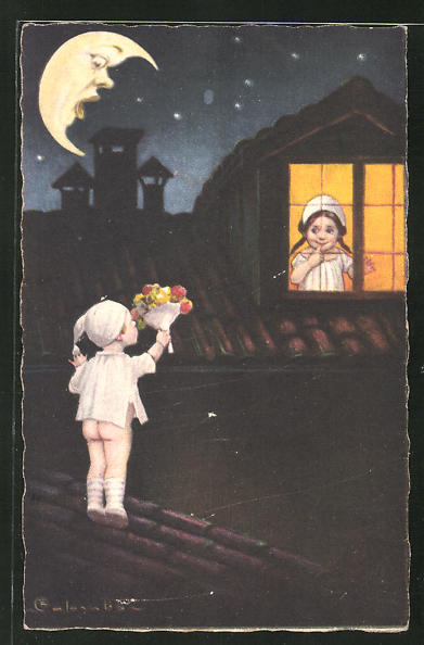 Künstler-AK E. Colombo: Mondgesicht kleiner Kavalier und Mädchen