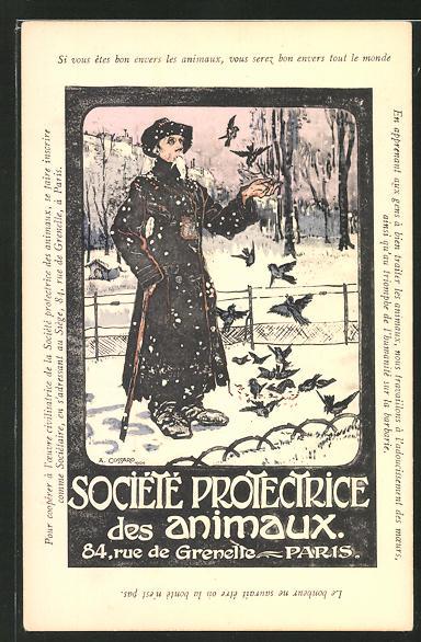 Künstler-AK Paris, Société Protectrice des Animaux, 84 Rue de Grenelle, Mann füttert Vögel im Winter