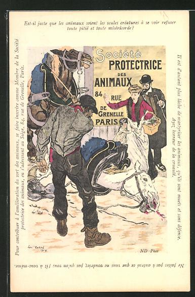 Künstler-AK Paris, Société Protectrice des Animaux, 84 Rue de Grenelle, Bauer schlägt sein Pferd