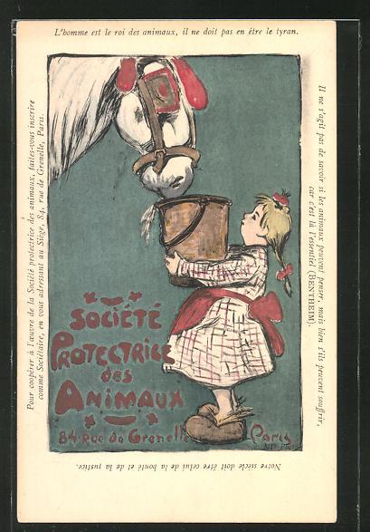 Künstler-AK Paris, Société Protectrice des Animaux, 84 Rue de Grenelle, Mädchen füttert ein Pferd