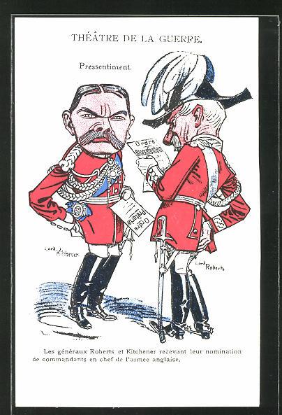 AK Théatre de la Guerre, Lord Kitchener und Lord Roberts, Burenkrieg