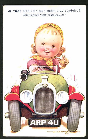 Künstler-AK Douglas Tempest: Frau im Auto fordert dazu auf einen Führerschein zu machen