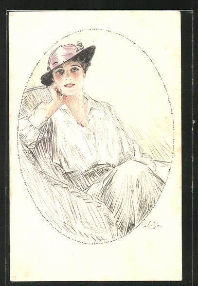 Künstler-AK Terzi: Dame mit Hut im Sessel