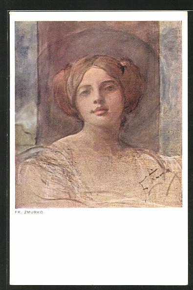 Künstler-AK Franciszek Zmurko: Schöne junge Frau mit hochgestecktem Haar