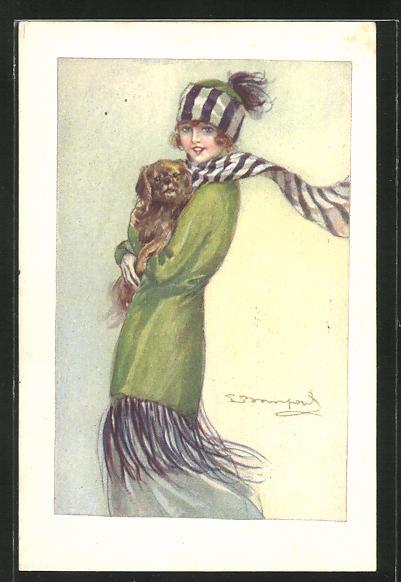 Künstler-AK Sergio Bompard: Junge Frau in Winterkleidung mit Hund auf dem Arm