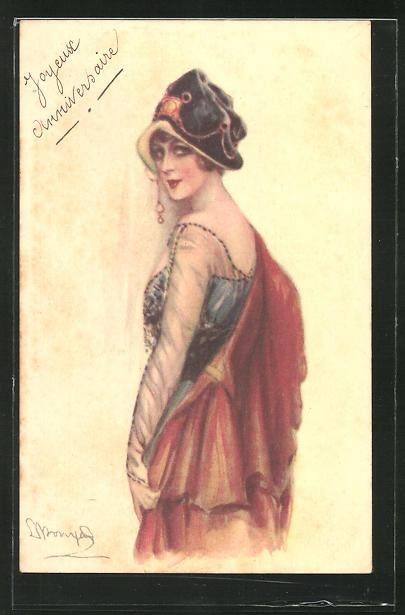 Künstler-AK Sergio Bompard: Elegante Dame im Abendkleid