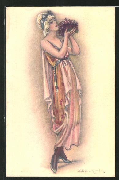 Künstler-AK Sergio Bompard: Elegante Dame riecht an einem Strauss Blumen