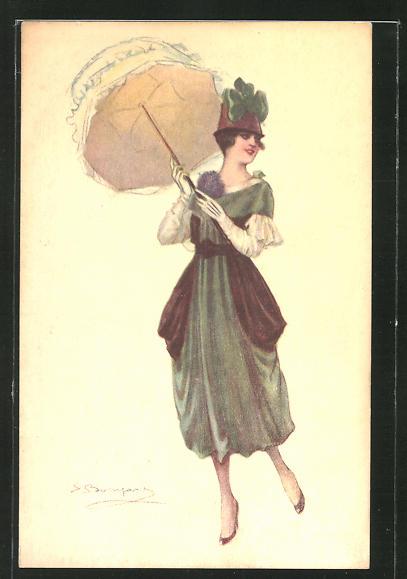 Künstler-AK Sergio Bompard: Elegante Dame mit Hut und Schirm