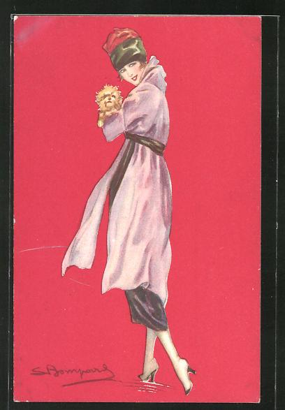 Künstler-AK Sergio Bompard: Elegante Dame mit Hund auf dem Arm