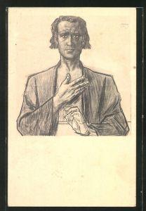 Künstler-AK Jan Toorop: Portrait des Apostels Bartholomeus