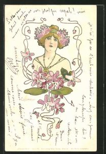 Künstler-AK E. Döcker: Dame mit Blumen im Haar, Jugendstil