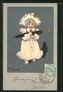 Künstler-AK Ethel Parkinson: Mädchen mit Schirm