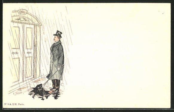 Künstler-AK sign. Charnonin: Mann mit kaputtem Regenschirm steht vor einer Tür