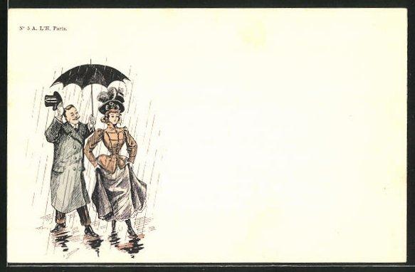 Künstler-AK sign. Charnonin: Höflicher Mann bietet einer Dame seinen Regenschirm an
