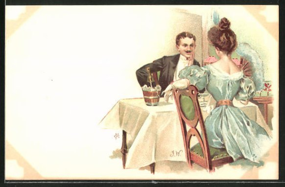Künstler-AK sign. J. Wood: Elegantes Paar bei einem Diner