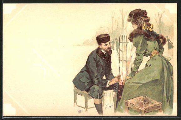 Künstler-AK sign. J. Wood: Frau besucht einen Korbmacher