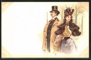 Künstler-AK sign. J. Wood: Elegantes Paar bei einem Spaziergang