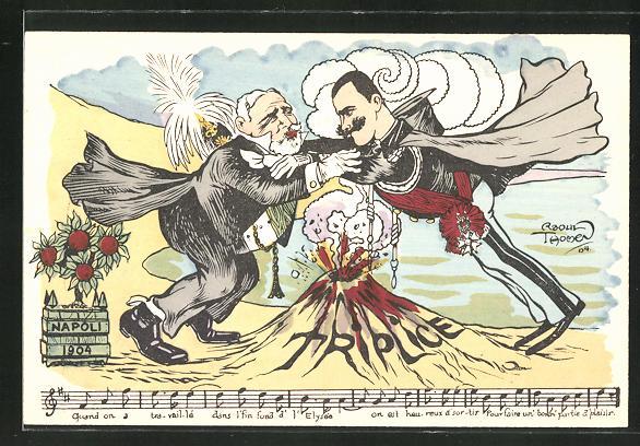 Künstler-AK sign. Raoul Thomen: König Vittorio Emanuele III. von Italien kämpft mit einem Mann über einem Vulkan