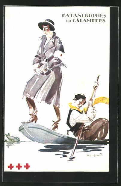 Künstler-AK sign. Massouet: Mitarbeiterin des Roten Kreuzes wird in einem Boot ans andere Ufer transportiert