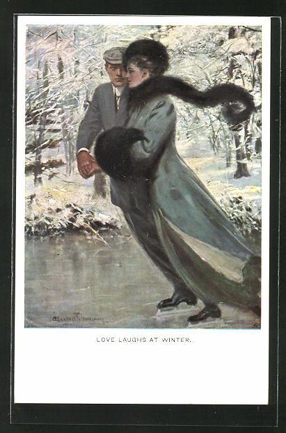 Künstler-AK Clarence F. Underwood: Love laughs at Winter, Verliebtes Paar auf Schlittschuhen