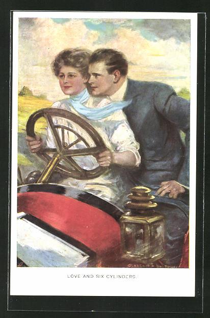 Künstler-AK Clarence F. Underwood: Frau am Steuer eines Autos,