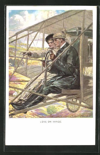 Künstler-AK Clarence F. Underwood: Paar im offenen Flugzeug,