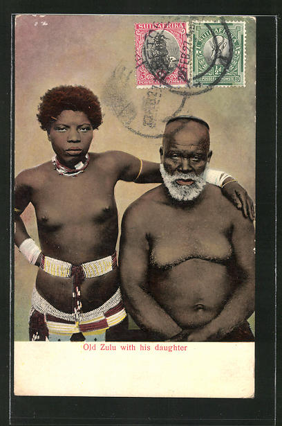 AK Old Zulu with his daughter, afrikanische nackte Frau mit ihrem Vater