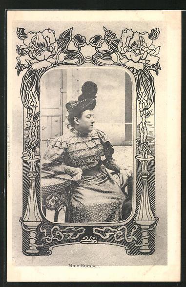 AK Madame Humbert sitzt an einem Tisch, Affaire Humbert