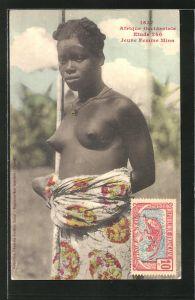 AK Afrique Occidentale, Etude 240, Jeune Femme Mina, afrikanische nackte Frau