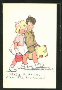 Künstler-AK sign. Liliane de Christen: Partir á deux, c'est être heureux!, Kinderpaar bei einem Spaziergang