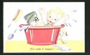Künstler-AK sign. Jansen: Kleines Kind fällt in den Waschzuber